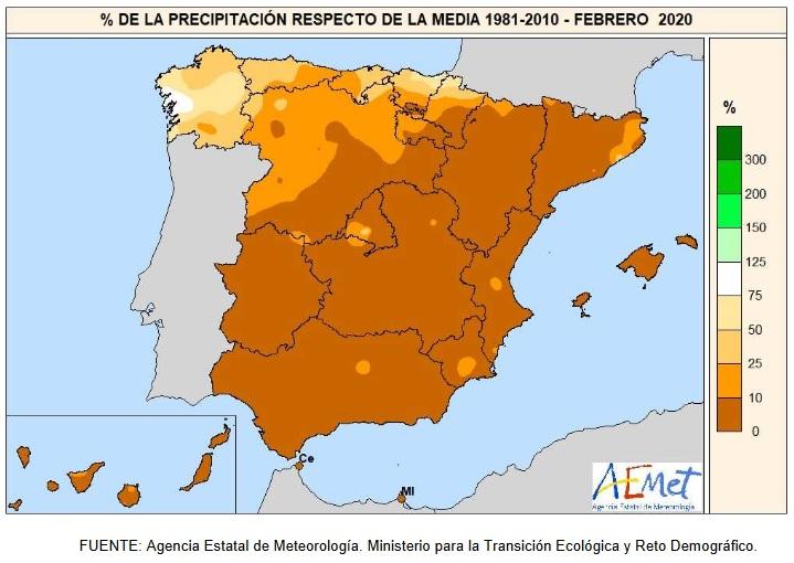 Anomalía Precipitación Febrero 2020 Península . AEMET. Meteosojuela