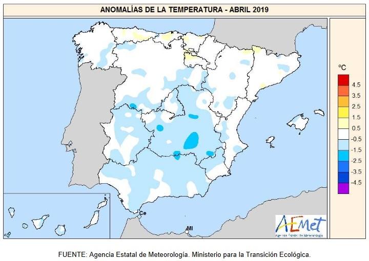 Anomalía Temperaturas Abril 2020. aemet. Meteosojuela