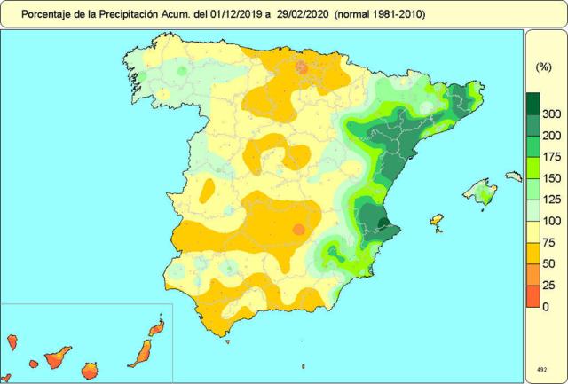 Anomalías Precipitación Invierno 2019 20. Meteosojuela
