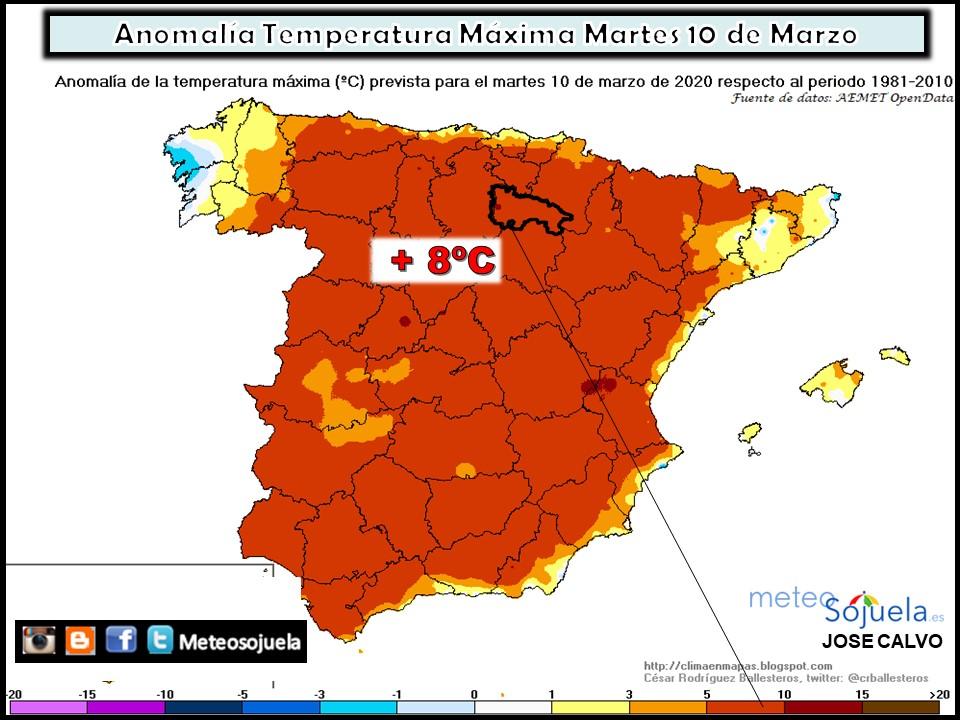 Anomalías Térmicas Temperaturas Máximas . Mteosojuela