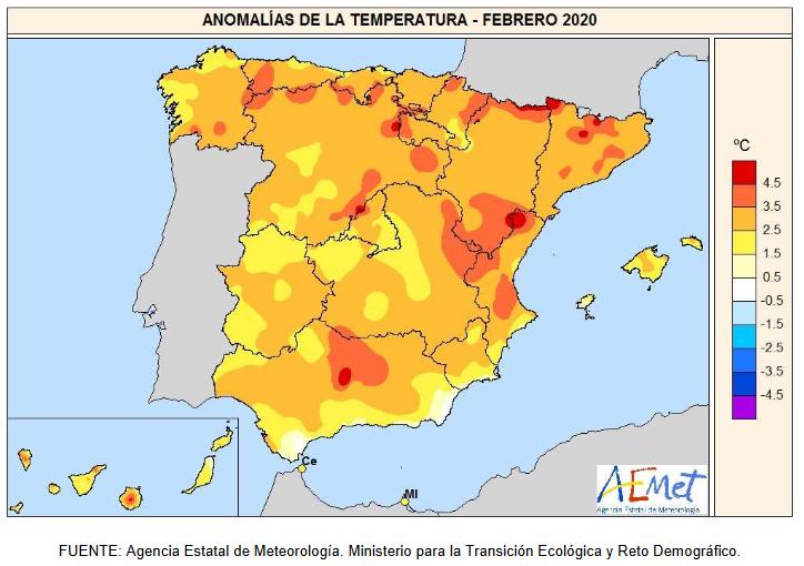 Anomalías Temperaturas Febrero. AEMET
