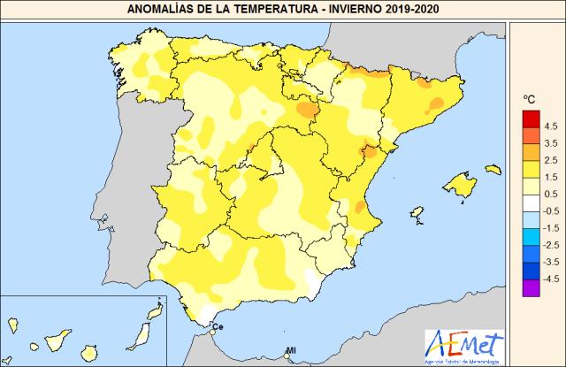 Anomalías Temperaturas Invierno 2019 20.