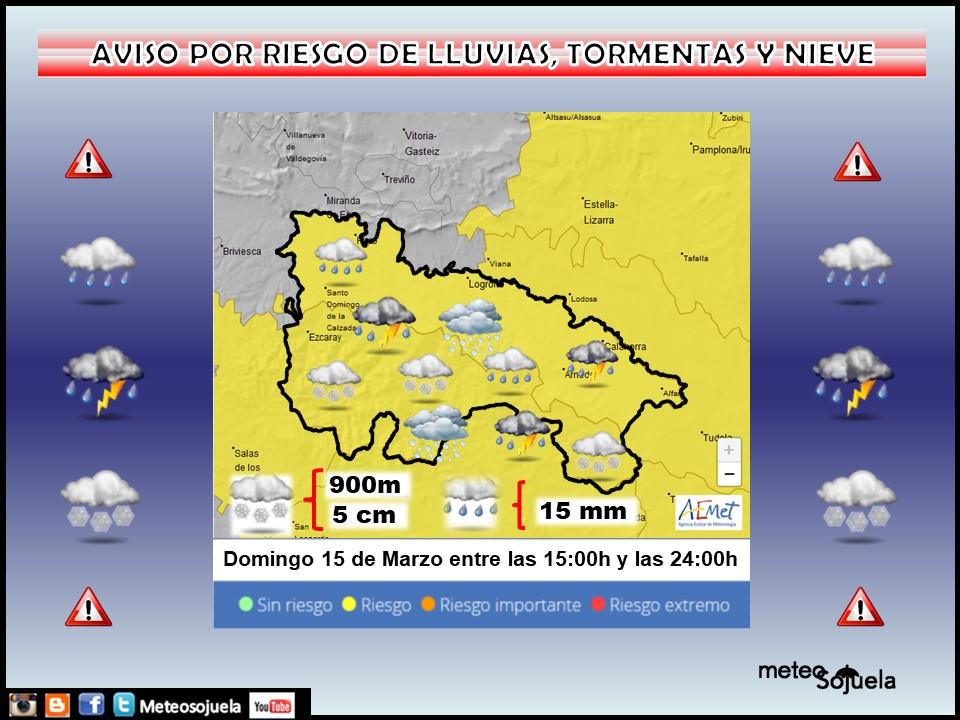 Aviso Amarillo por Nieve, Lluvia y Tormentas. AEMET. Meteosojuela