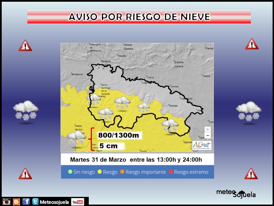 Aviso Amarillo por Nieve. AEMET. Meteosojuela