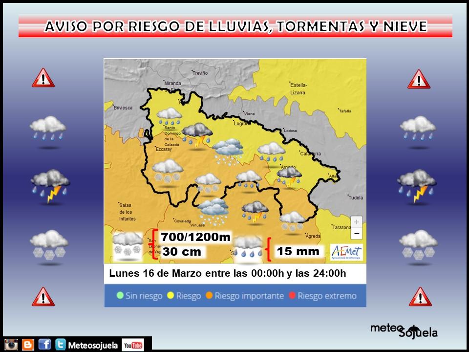 Aviso Amarillo por Tormentas, lluvia y Nieve. 16 Meteosojuela