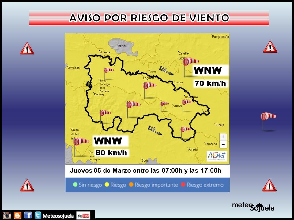 Aviso Amarillo por Viento AEMET. Meteosojuela