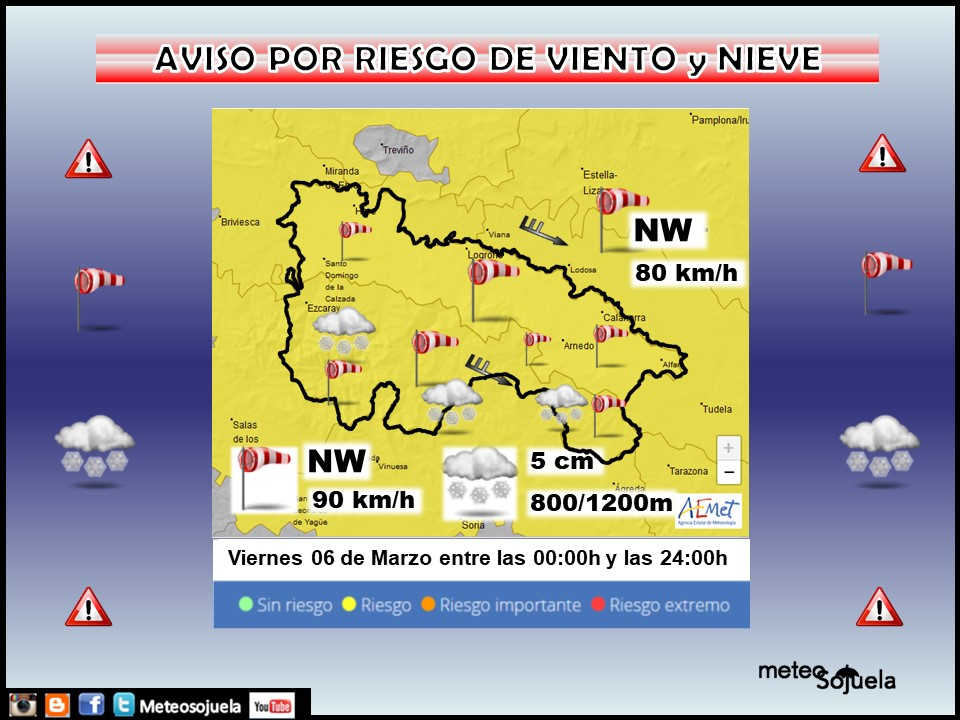 Aviso Amarillo por Viento y Nieve AEMET. Meteosojuela