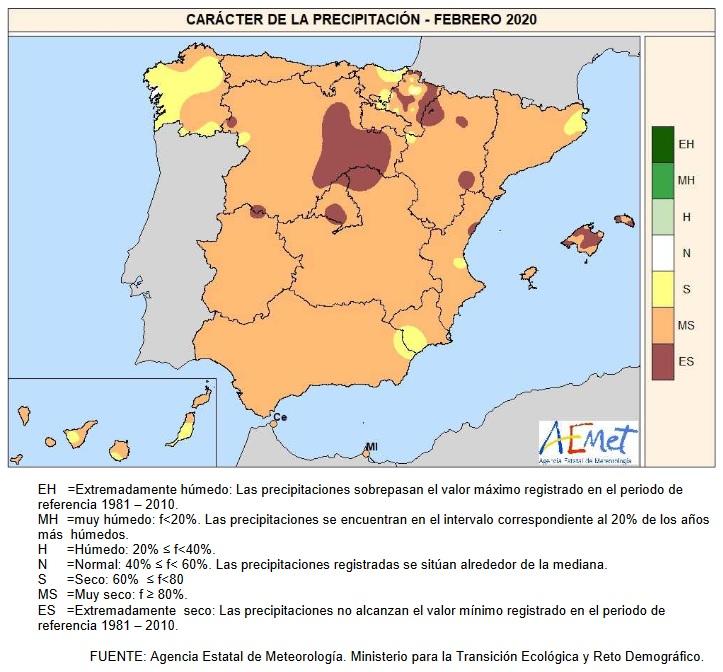 Caracter Precipitación Febrero 2020 Península . AEMET. Meteosojuela