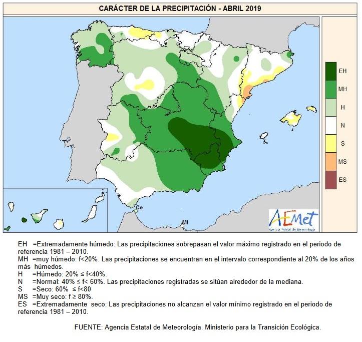 Caracter precipitación Abril 2020 Península . AEMET. Meteosojuela