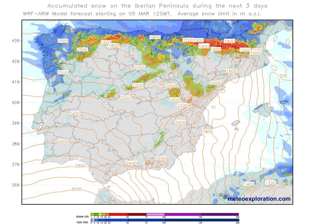 Mapas de Nieve acumulada. Meteoexploration. Meteosojuela