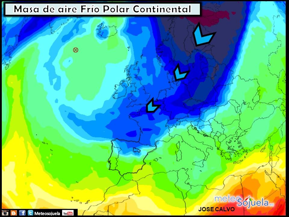 Masa de Aire Frío Polar Continental. Meteosojuela