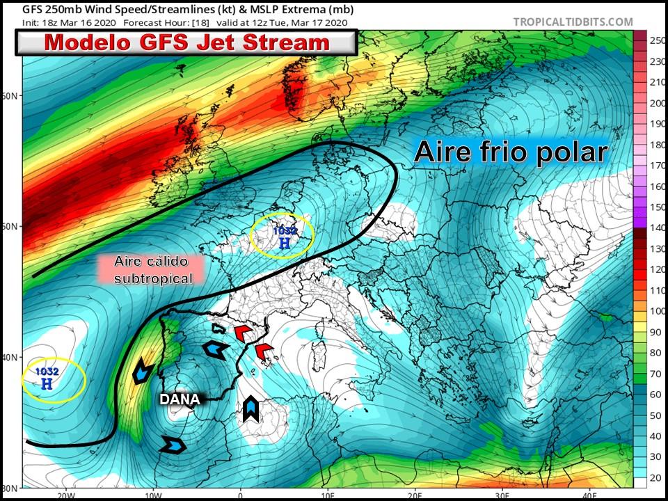 Modelos de Altura de Geopotencial a 300hPa GFS Europa. Meteosojuela La Rioja