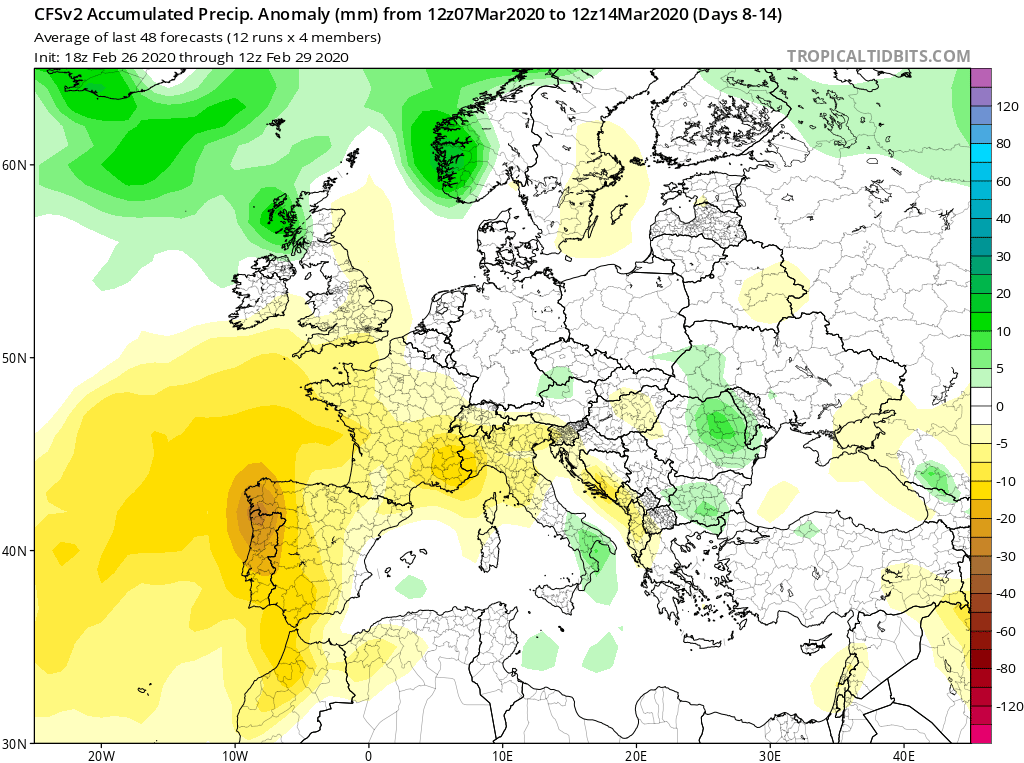 Modelos de Precipitación semanal Marzo GFS 2ª Semana . Meteosojuela La Rioja.