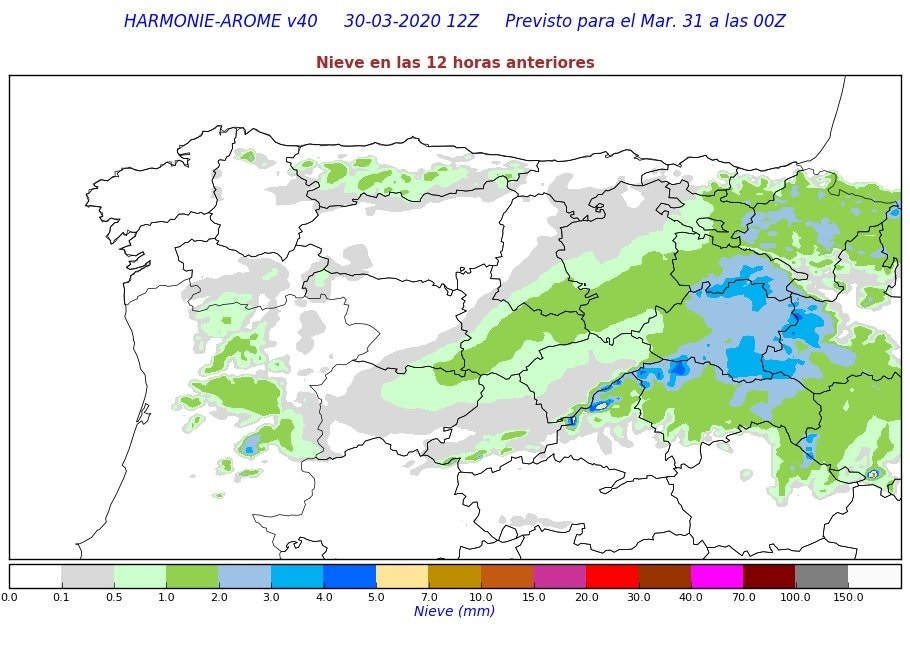 Precipitación Nieve Acumulada Harmonie. Meteosojuela