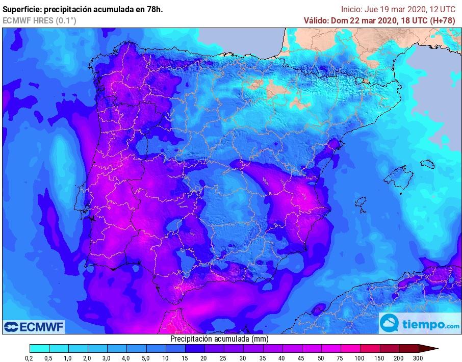 Precipitación acumulada fin de semana ECMWF. Meteosojuela