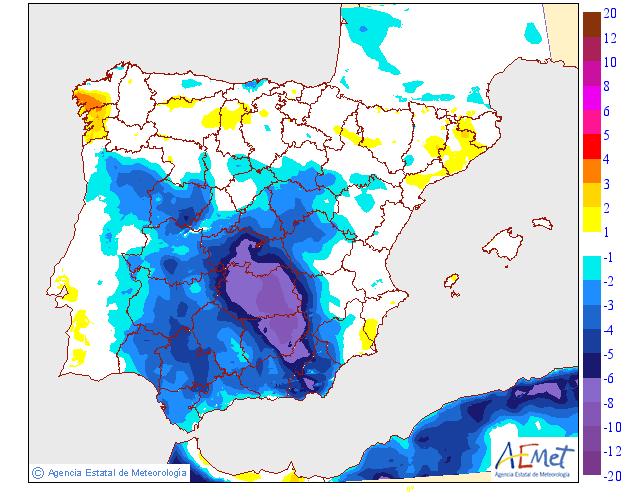 Variación de temperaturas máximas AEMET. 21 Meteosojuela