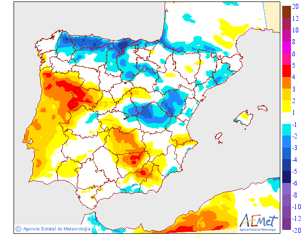 Variación de temperaturas máximas AEMET. 22 Meteosojuela