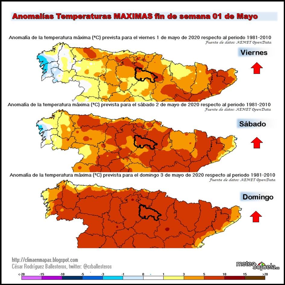Anomalías Temperaturas Máximas. Meteosojuela