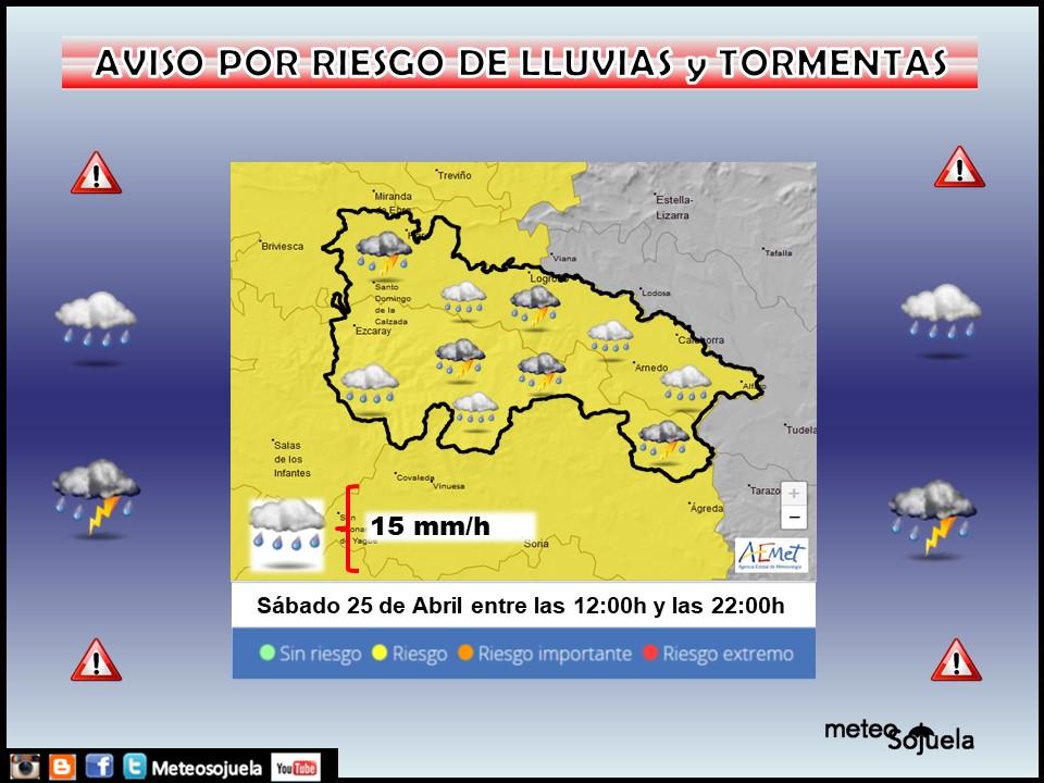 Aviso Amarillo por Lluvias y Tormentas 25 Meteosojuela