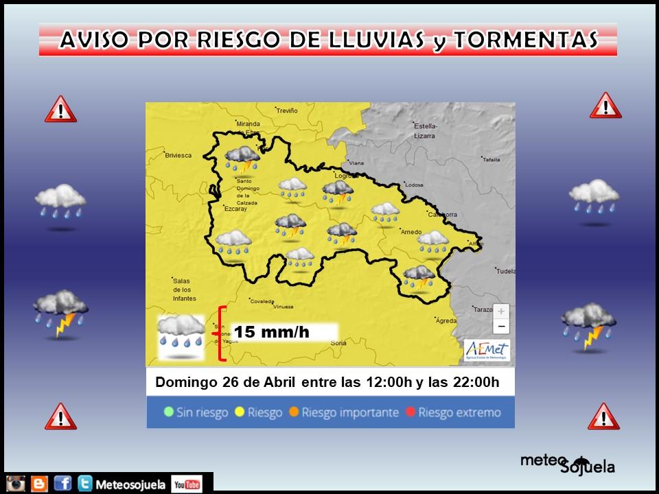 Aviso Amarillo por Lluvias y Tormentas 26 Meteosojuela