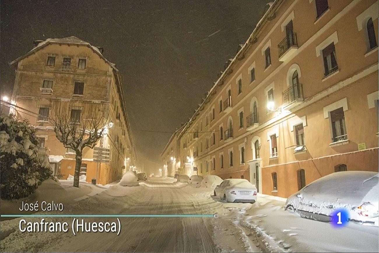 Canfranc nevado. El tiempo de TVE1. 0703 Meteosojuela