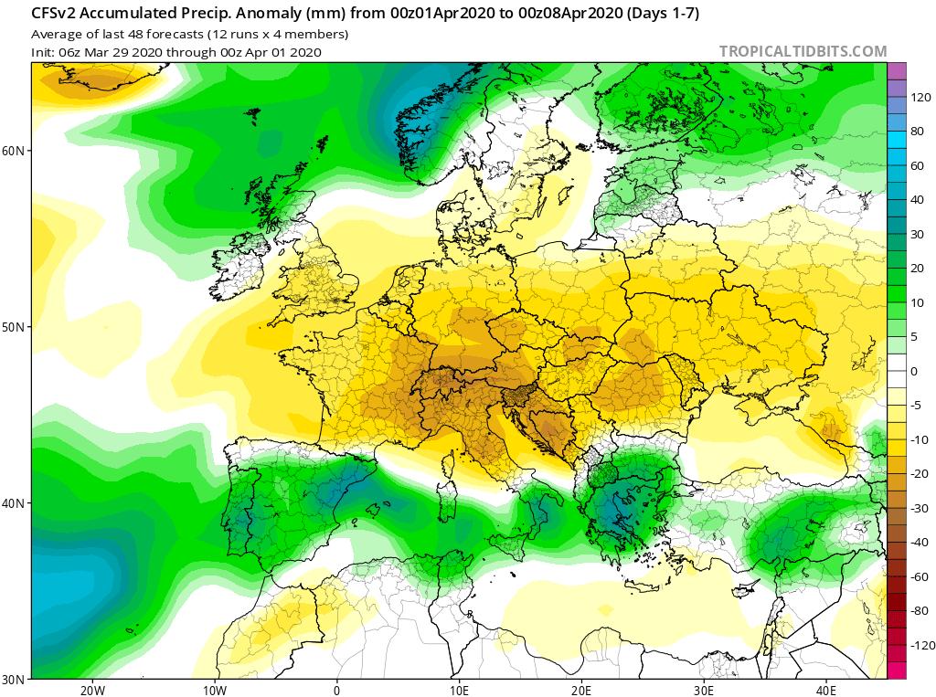 Modelos de Precipitación semanal Abril GFS 1ª Semana . Meteosojuela La Rioja.