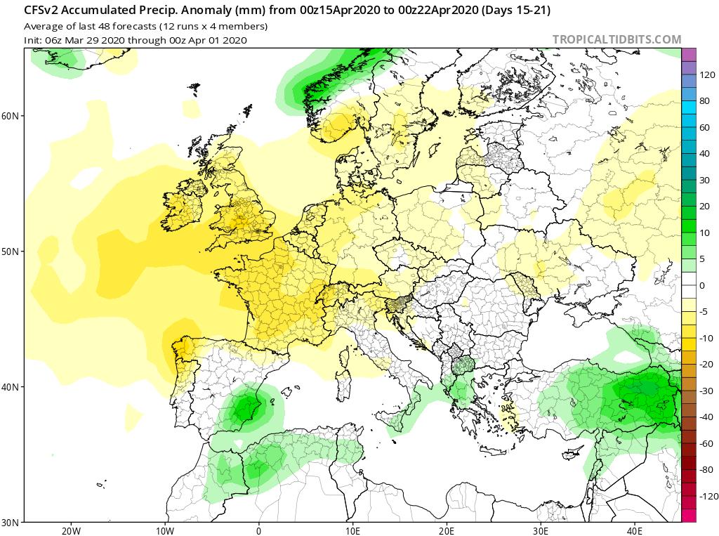 Modelos de Precipitación semanal Abril GFS 3ª Semana . Meteosojuela La Rioja.