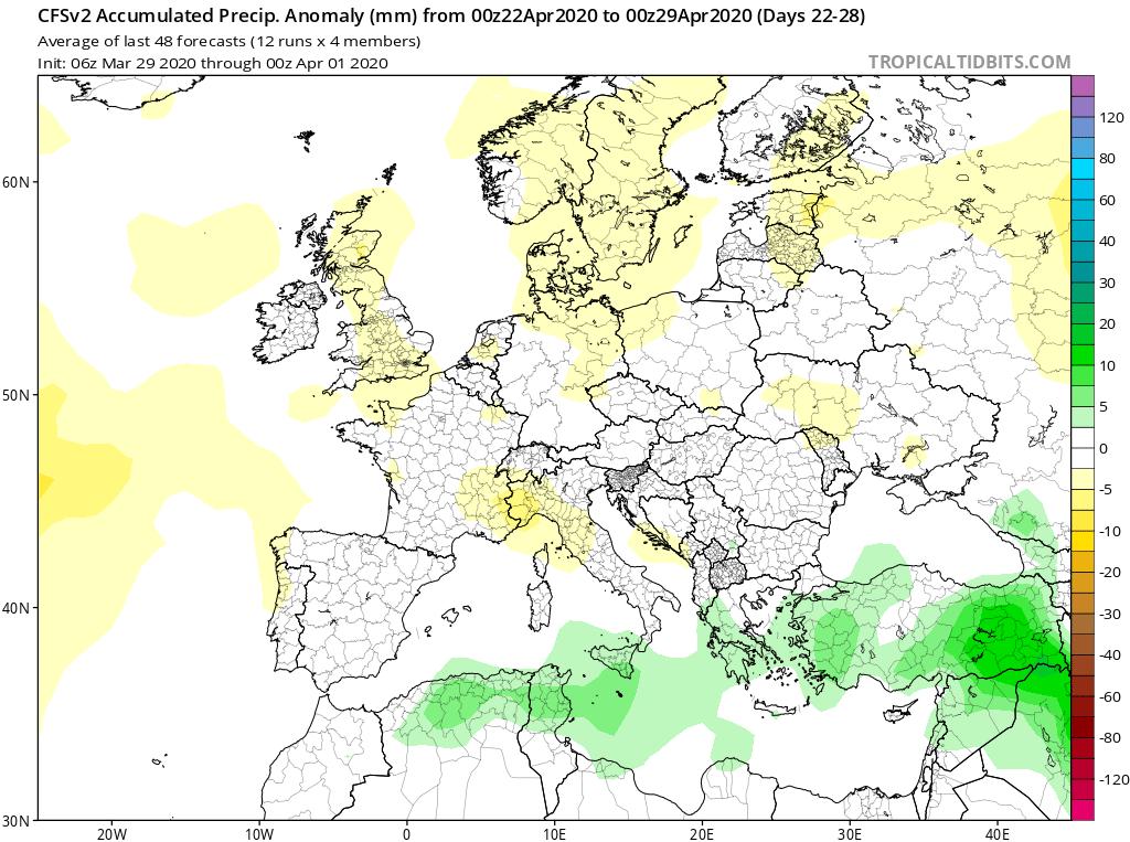 Modelos de Precipitación semanal Abril GFS 4ª Semana . Meteosojuela La Rioja.