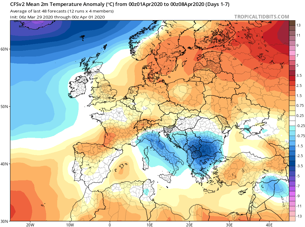 Modelos de Temperatura semanal Abril GFS 1ª Semana . Meteosojuela La Rioja.