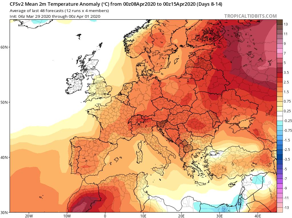 Modelos de Temperatura semanal Abril GFS 2ª Semana . Meteosojuela La Rioja.