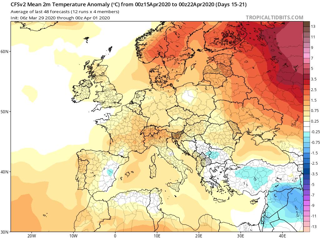Modelos de Temperatura semanal Abril GFS 3ª Semana . Meteosojuela La Rioja.