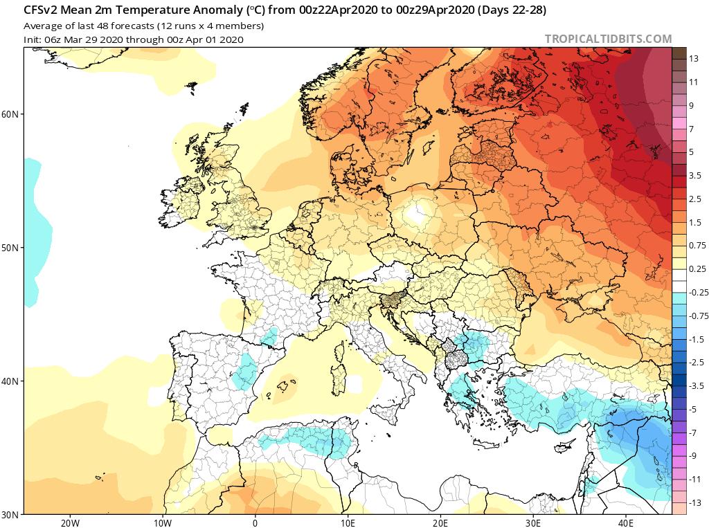 Modelos de Temperatura semanal Abril GFS 4ª Semana . Meteosojuela La Rioja.