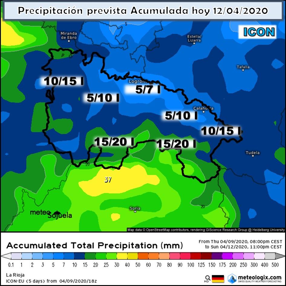 Precipitación acumulada ICON. Meteosojuela