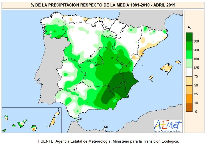 Anomalía Precipitación Abril 2020 Península . AEMET. Meteosojuela