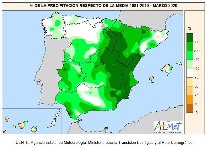 Anomalía Precipitación Marzo 2020 Península . AEMET. Meteosojuela