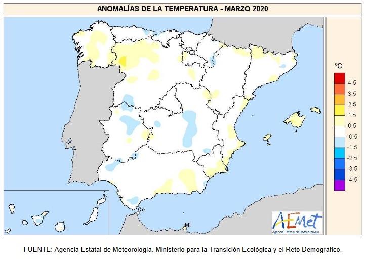 Anomalía Temperaturas Marzo 2020 Península . AEMET. Meteosojuela