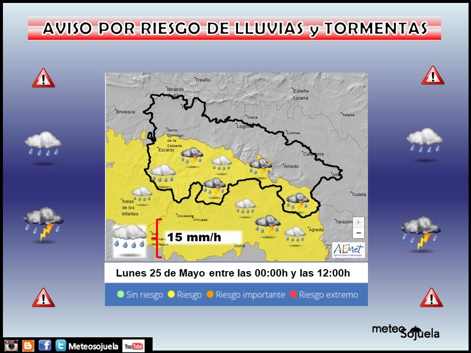 Aviso Amarillo por LLuvias y Tormentas en la Ibérica. AEMET. Meteosojuela