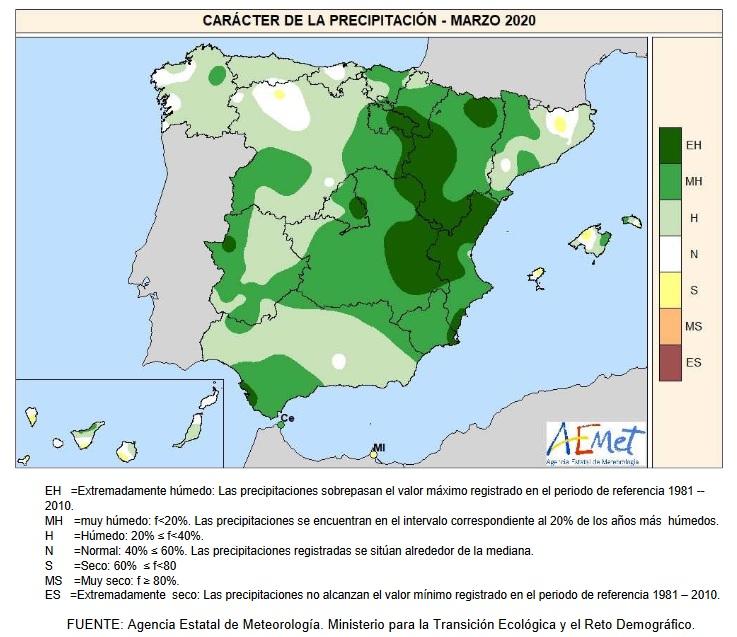 Caracter precipitación Marzo 2020 Península . AEMET. Meteosojuela