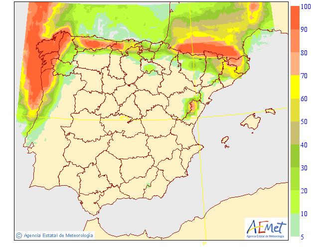 Probabilidad de precipitación según AEMET. 06 Meteosojuela La Rioja