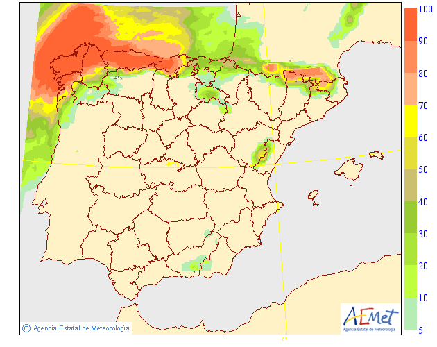 Probabilidad de precipitación según AEMET.22 Meteosojuela La Rioja