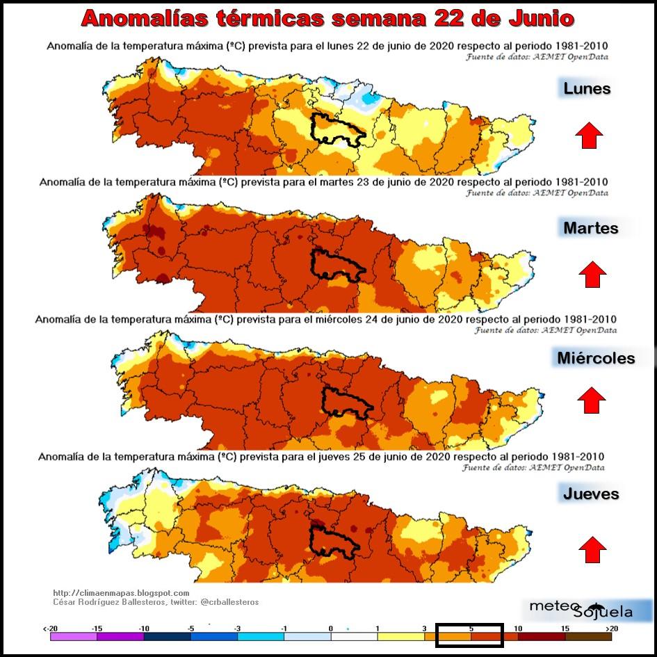 Anomalías Térmicas Temperaturas Máximas. Meteosojuela