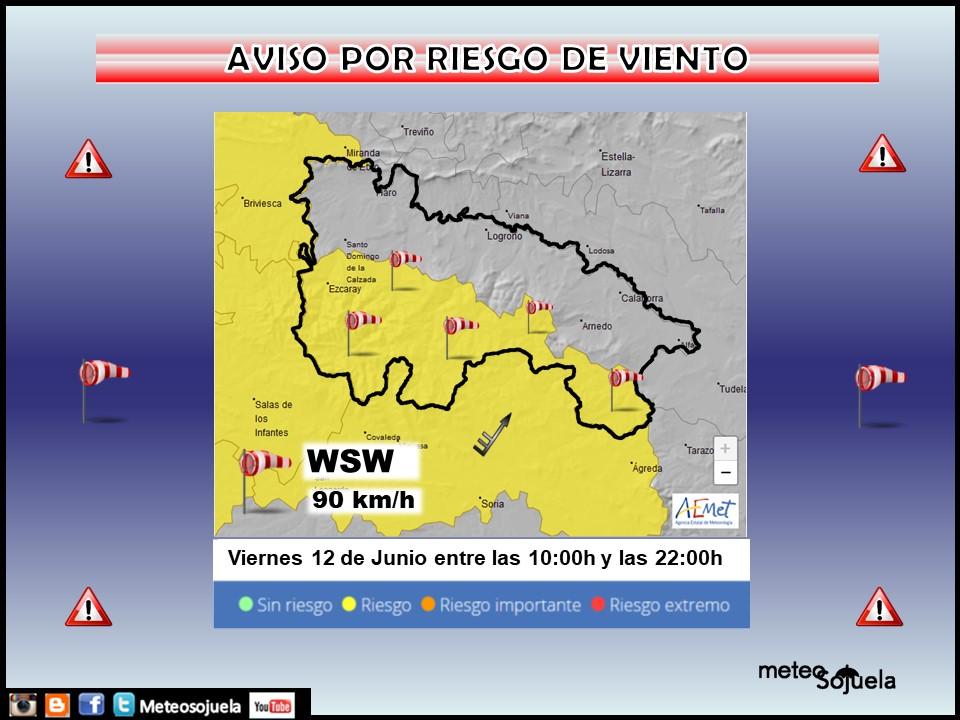 Aviso Amarillo Viento Ibérica. Meteosojuela