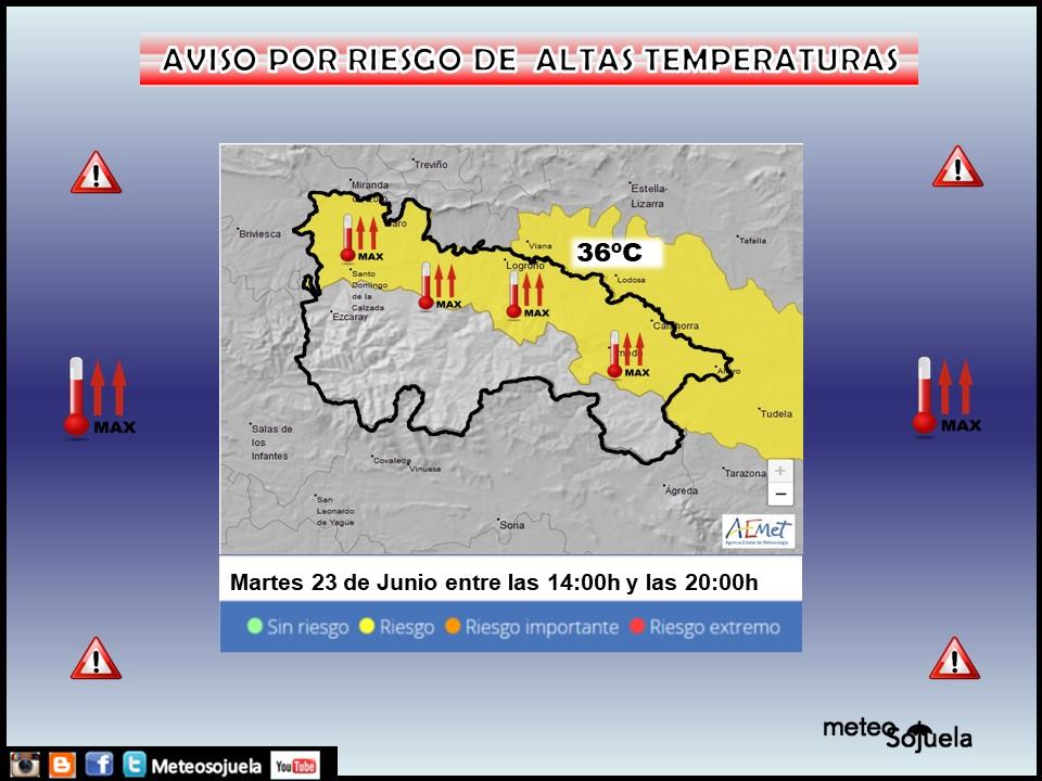 Aviso Amarillo por Altas Temperaturas. AEMET. Meteosojuela.