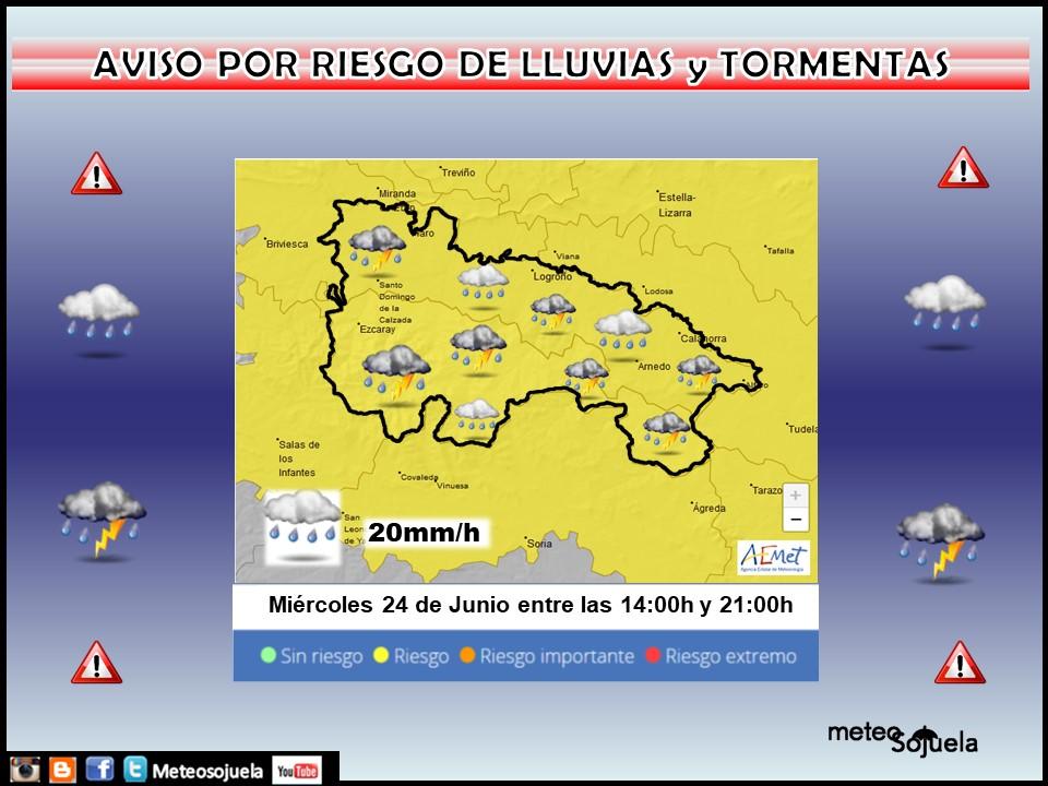 Aviso Amarillo por LLuvias y Tormentas. AEMET. Meteosojuela.