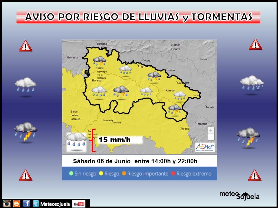Aviso Amarillo por LLuvias y Tormentas. AEMET. Meteosojuela