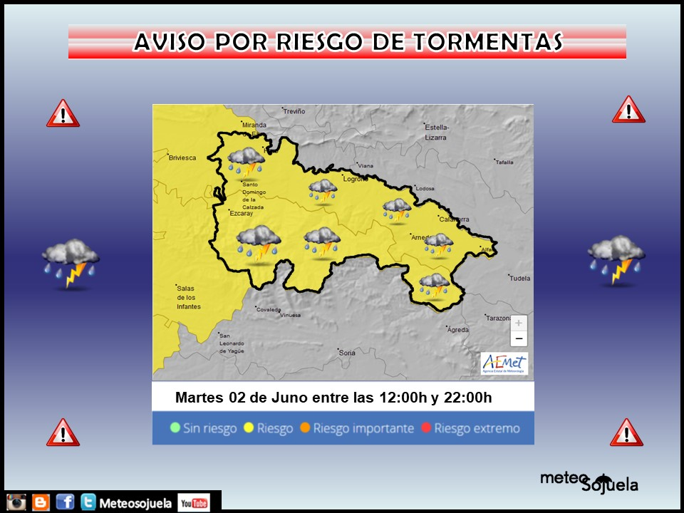 Aviso Amarillo por Tormentas. AEMET. Meteosojuela