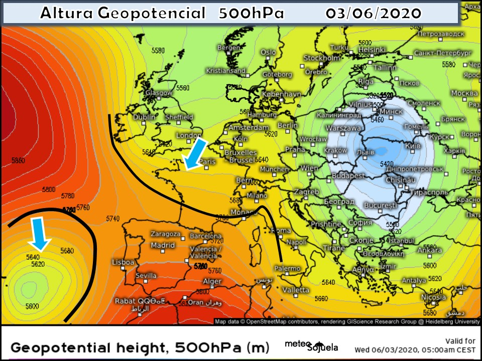 Modelo Geopotencial 500hPa. Meteosojuela