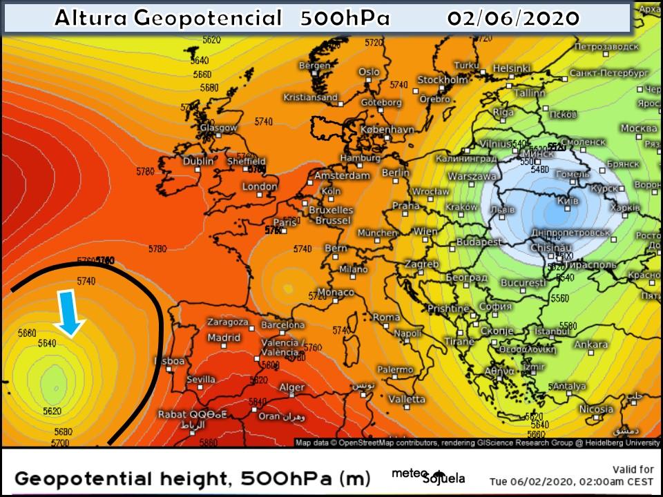 Modelo Geopotencial 500hPa. Vaguada. Meteosojuela