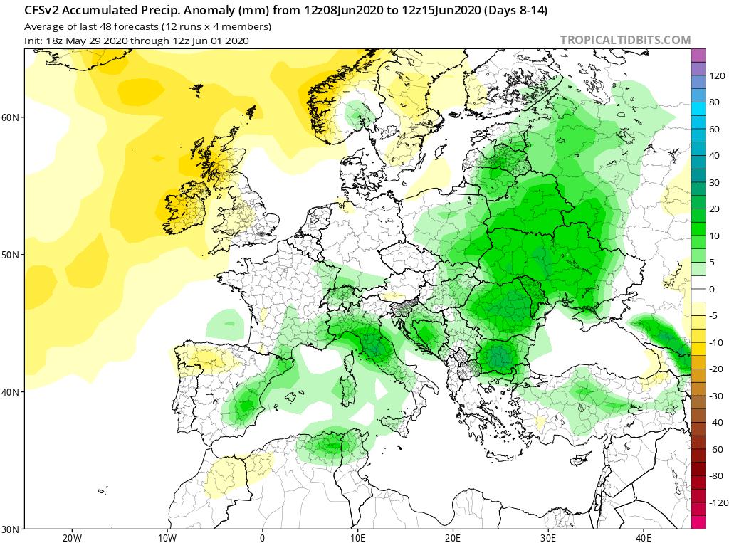 Modelos de Precipitación semanal Junio GFS 2ª Semana . Meteosojuela La Rioja.