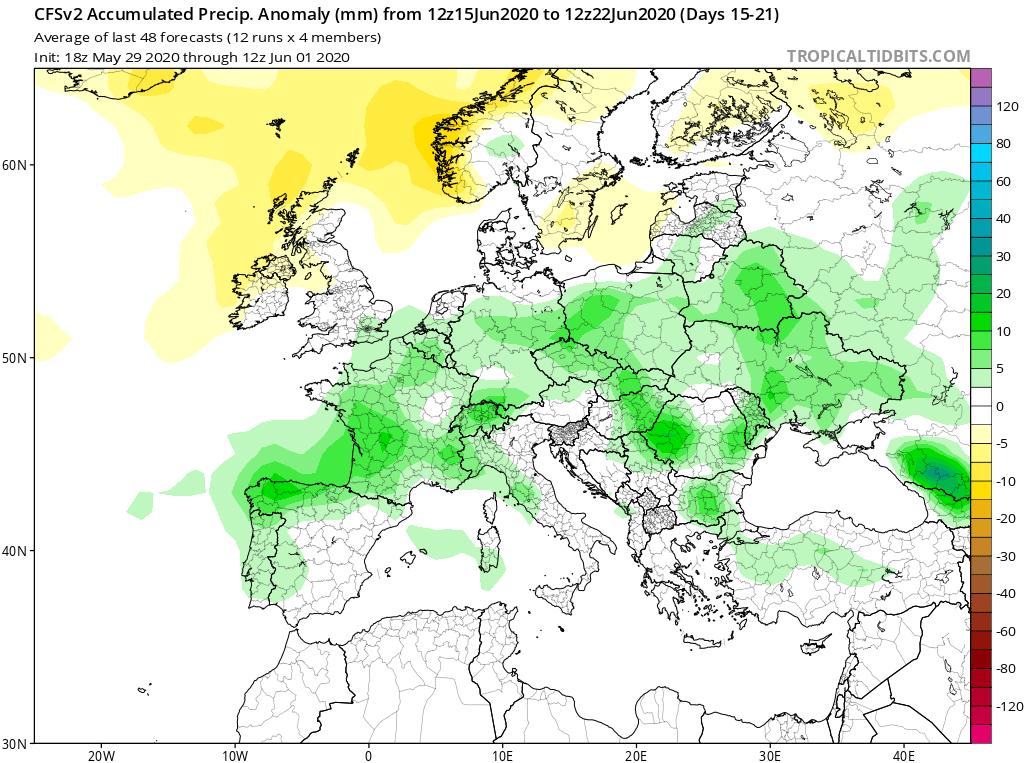 Modelos de Precipitación semanal Junio GFS 3ª Semana . Meteosojuela La Rioja.